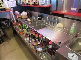 93'' Wall Mount Stainless (4) Compartment Under-Bar Sink