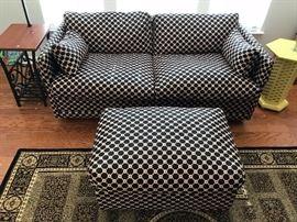 Black Diamond Upholstered Double Sleeper Sofa and Ottoman