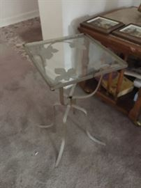 Glass wrought iron side table