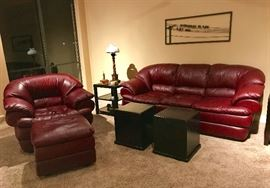 Decoro Italian Leather Sofa, Chair and Ottoman