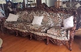 Carved Italian Provincial Sofa  - great Condition