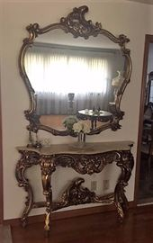 Carved Faux Marble Top Console Table w/ Mirror