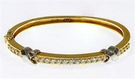 14k Multi color Gold and Diamond Bangle Bracelet