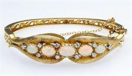 14k Gold Opal and Diamond Bracelet