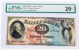 Lot 400 - Coin 1869 $20 Treasury Note Extremely Rare PMG 20
