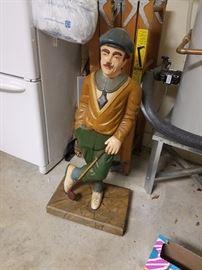 """43"""" Carved wooden golfer."""