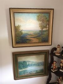 Top:  Bluebonnet oil painting on canvas by Charles Berkeley Normann (1903 - 1985), Bottom:  Landscape artist unknown