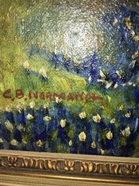 Signature detail bluebonnet painting by Charles Berkeley Normann