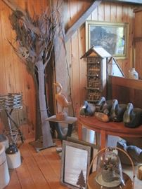 stands, ducks & jugs & metal tree with flying fish