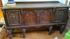 1920's Jacobean Buffet with Dining Room Set