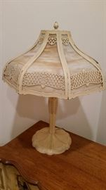 Antique Tiffany Style Lamp with Slag Shade