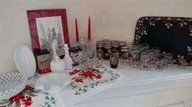 Vintage Glassware, Milkglass and tins....