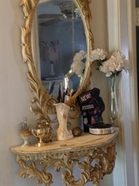 HOLLYWOOD RECENCY MIRROR AND MATCHING MARBLE SHELF
