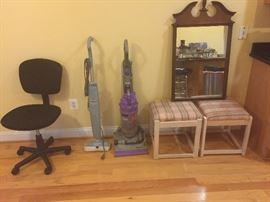 Black desk chair, Dyson vacuum, stools need to recovered, Cherry Mirror