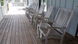Nice wooden rockers perfect for your porch, small white tables as well for sale