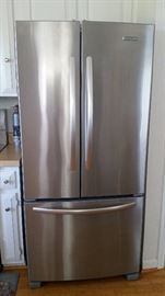 Kitchen Aid Stainless Steel Refrigerator.(Filter replaced recently)  Selling the 4 Piece Stainless Steel Set (Refrigerator, Stove, Microwave and Dishwasher for $1695) Call Andrea at 910-617-1719 to purchase this ahead of sale.