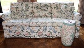 Floral Upholstered Sofa and an Asian Garden Stool