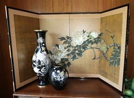 Asian Painted Screen and MOP Vases