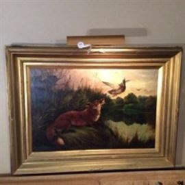 19th Century Fox and Duck Oil Painting