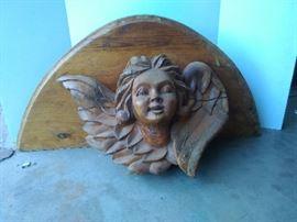 Carved Wood Angel Decor