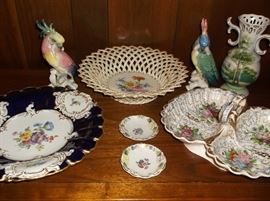 Meissen bowl w/cobalt edge & floral center,  German porcelain divided dish,  etc.