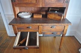 drawers on possum belly bakers cabinet 1899