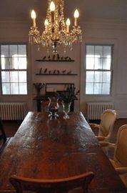 oak farm table, chandelier