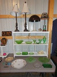 Green Depression Glass, China, Lamps