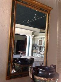 Gold Gilt /Malachite faux finish over mantle mirror.