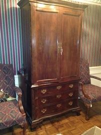 Entertainment armoire with lots of storage; two matching arm chairs