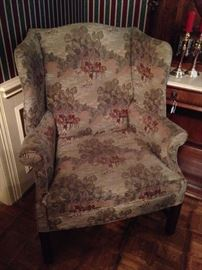 Hunt scene fabric upholstered wingback chair