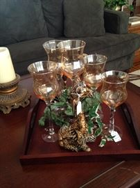 Decorative tray, candle holders, and giraffe