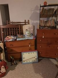 Child's 3 Drawer chest and 4 Drawer dresser. These pieces are also from the 60's . Fun mix of toys and books!