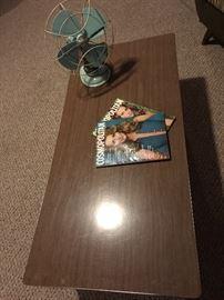 Retro coffee table , Retro Aqua colored fan.