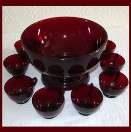 Fabulous Ruby Glass Punch Bowl Set including Bowl, Stand and 8 Cups