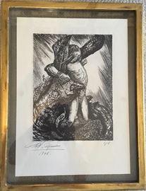 """David Siqueiros Lithograph, (1896-1974), """"The Bound Man""""; 17""""x12"""""""