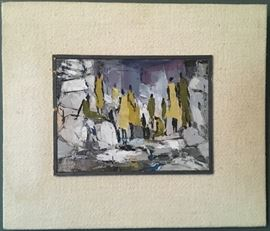 "Joshua Meador, 1911-1965, Abstract Figurative Scene, Oil on Canvas, 6""x8"", Mounted on Linen Covered Board"