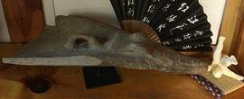 Alligator Sculpture, Fan, and Ceramic Acrobat