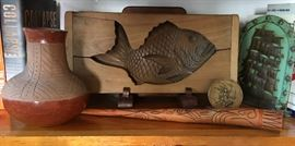Fish Mold; Native American Vase; Conical Gourd; Vintage Bookend