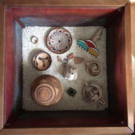 Native American basket; pottery by: Darux; Angela Tohono O'odjam & Michael Kanteena;  Fetish Bowl
