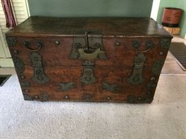 Chinese Wood Blanket Chest with Handmade Brass Hardware