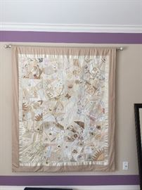 Beautiful vintage fabrics & lace crazy quilt - hand made
