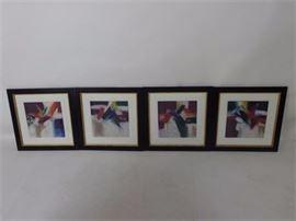 Ann Dergara Set of 4 Mixed Media Monoprints