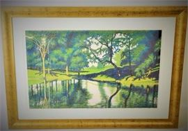 Caitlin Pond Framed Lithograph of Lakeside Scene