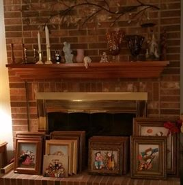 Roybal artwork, candlesticks, smalls