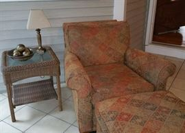Wicker accent tables with glass tops
