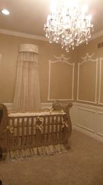 Bratt Decor Chelsea Sleigh Crib in Antique Silver with custom angel details, Chelsea Dresser with Changing Table with custom angel details, 2 - Chelsea nightstands, Custom Posh Tots bedding,  Custom Bed Crown and Lace Sheers.  Amazing Nursery Set a beautiful gender neutral set!!!