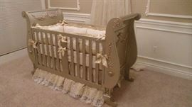 Bratt Decor Chelsea Sleigh Crib in Antique Silver with custom angel details, Chelsea Dresser with Changing Table with custom angel details, 2 - Chelsea nightstands, Custom Posh Tots bedding,  Custom Bed Crown and Lace Sheers.  Amazing Nursery Set a beautiful gender neutral set!!! All items originally $8,000 now only $5,000 for all items