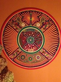 Huichol Indian yarn painting of plywood, yarn and beeswax
