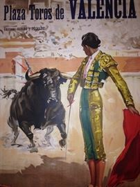 Original 1956 Valencia, Spain bullfight lithograph poster 8ft tall x 42in wide